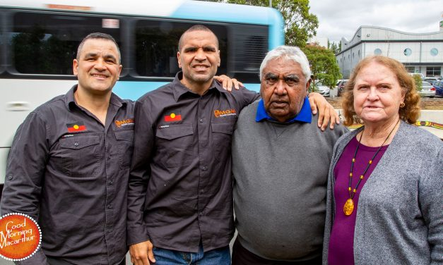 Anthony Mundine launches Sydney's first Indigenous roadside barriers in Campbelltown